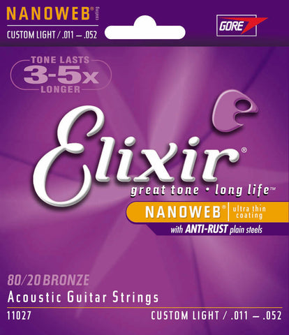 Elixir Strings 80/20 Bronze Acoustic Guitar Strings w NANOWEB Coating, Custom Light (.011-.052)
