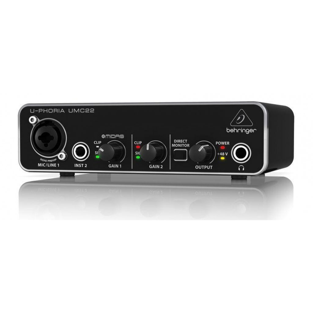Behringer UMC22 U-Phoria Audiophile 2x2 USB Audio Interface with MIDAS Mic Preamplifier