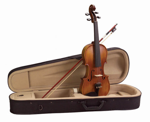 Academy 155AU-4/4 Classical Series Flamed Violin Outfit with Case & Bow - Chestnut Brown