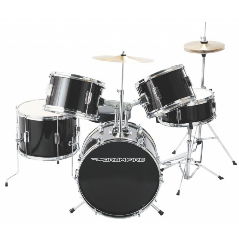 5-Piece Junior Drum Set, Gloss Black