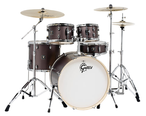Gretsch Brushed Grey  Energy 5 pc. Kit w/ Full Hardware Package & Zildjian Cymbals