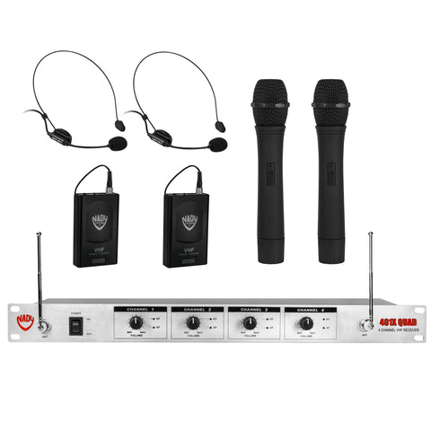 Nady 401X-QUAD-HT-HM3-ANY Wireless 4-Channel Handheld and Headset Microphone System