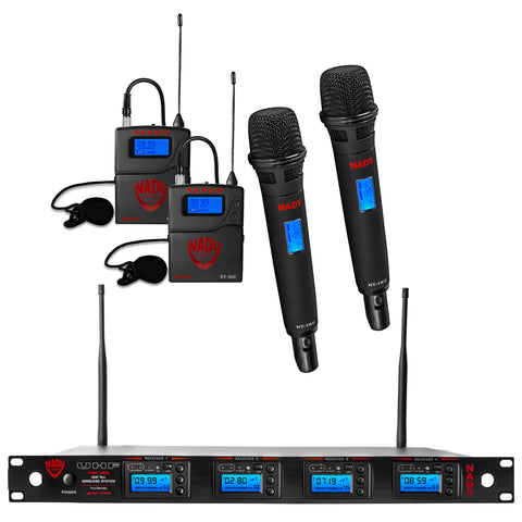 Nady 4W-1KU HT Quad True Diversity 1000-Channel Professional UHF Wireless System with 2 Handheld Microphones & 2 Lapel Microphones