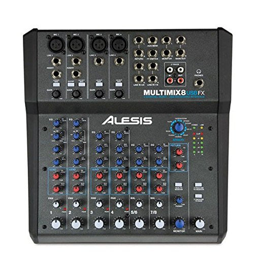 Alesis MultiMix 8 USB FX | 8-Channel Mixer with Effects & USB Audio Interface - Audioride