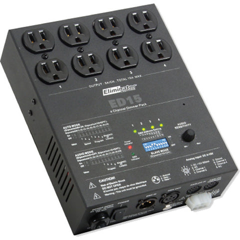 Eliminator Lighting ED15 4-Channel Unique 4-Channel Dimmer Pack - Black