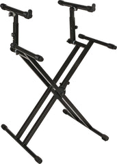 "Quick Lok QL-742 Pro Series Double-brace ""X"" with adjustable second tier Keyboard Stand"