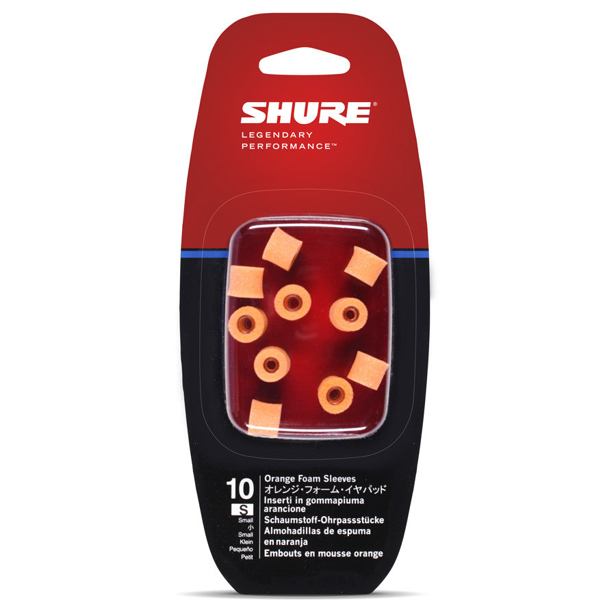 Shure EAORF2-10S Small Foam Sleeves (10 Included/5 Pair) for E2c, SE102MPA, i2c & QuietSpot Earphones (Orange)