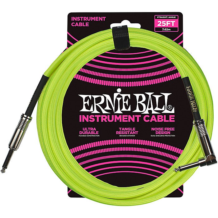 Ernie Ball L15554 000000001 25' Straight to Angle Instrument Cable - Neon Yellow