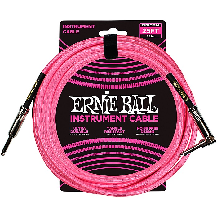 Ernie Ball L15554 000000002 25' Straight to Angle Instrument Cable - Neon Pink