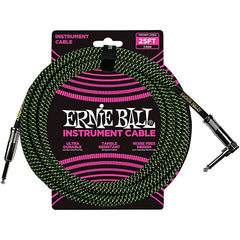 Ernie Ball L15554 000000003 25' Straight to Angle Instrument Cable - Black and Green