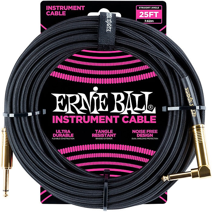 Ernie Ball L15554 000000011 25' Straight to Angle Instrument Cable - Black/Black