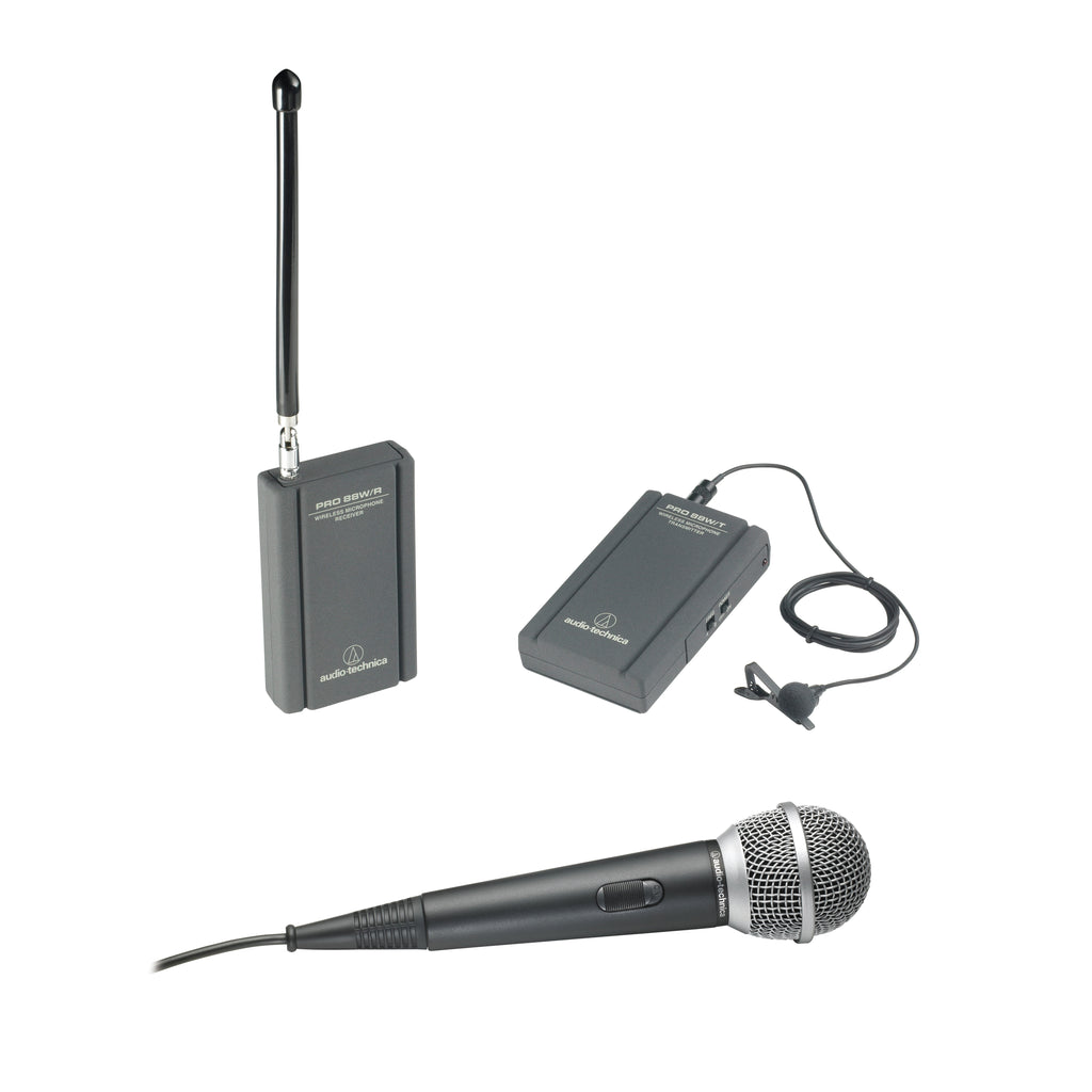 Audio-Technica ATR288W VHF TwinMic System with Battery-Powered Receiver and Transmitter