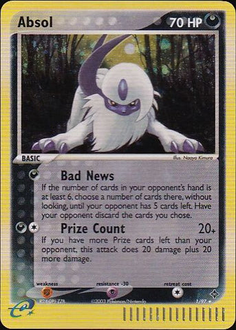 Absol - 1/97 Rare Holo, Pokemon Card Single, Gotta Collect Em All, product_collection], Pokemon