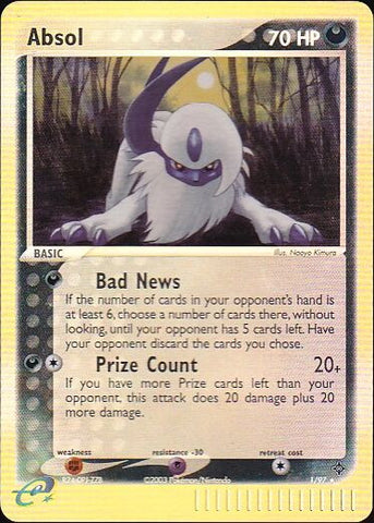 Absol - 1/97 Rare Reverse Holo, Pokemon Card Single, Gotta Collect Em All, product_collection], Pokemon