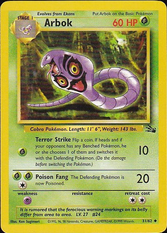 Arbok - 31/62 Uncommon, Pokemon Card Single, Gotta Collect Em All, product_collection], Pokemon