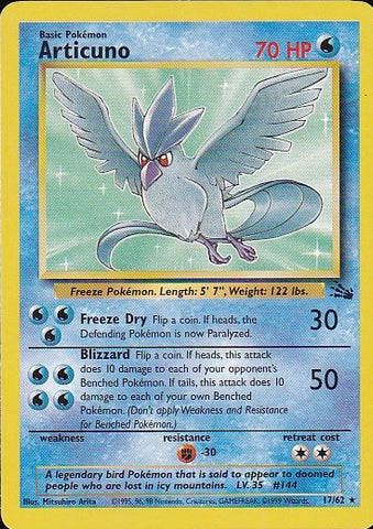 Articuno - 17/62 Rare, Pokemon Card Single, Gotta Collect Em All, product_collection], Pokemon