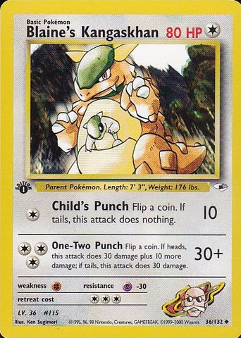 Blaine's Kangaskhan - 36/132 Uncommon 1st Edition, Pokemon Card Single, Gotta Collect Em All, product_collection],Pokemon