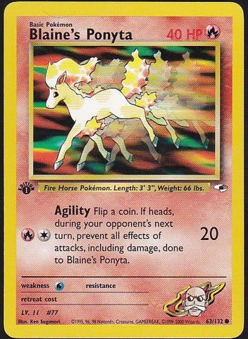 Blaine's Ponyta - 63/132 Common 1st EditionPokemon Card SingleGotta Collect 'Em All! Pokemon