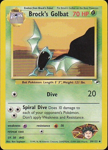 Brock's Golbat - 39/132 Uncommon, Pokemon Card Single, Gotta Collect Em All, product_collection],Pokemon