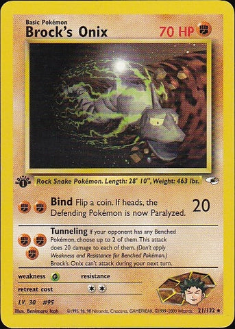 Brock's Onix - 21/132 Rare 1st EditionPokemon Card SingleGotta Collect 'Em All! Pokemon