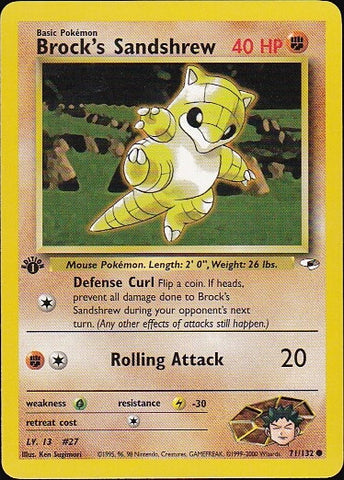 Brock's Sandshrew - 71/132 Common 1st Edition, Pokemon Card Single, Gotta Collect Em All, product_collection],Pokemon