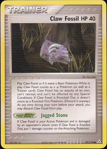 Claw Fossil - 91/110 CommonPokemon Card SingleGotta Collect 'Em All! Pokemon
