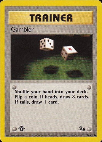 Gambler - 60/62 Common 1st EditionPokemon Card SingleGotta Collect 'Em All! Pokemon