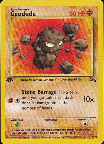 Geodude - 47/62 Common 1st EditionPokemon Card SingleGotta Collect 'Em All! Pokemon