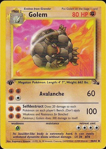 Golem - 36/62 Uncommon 1st EditionPokemon Card SingleGotta Collect 'Em All! Pokemon