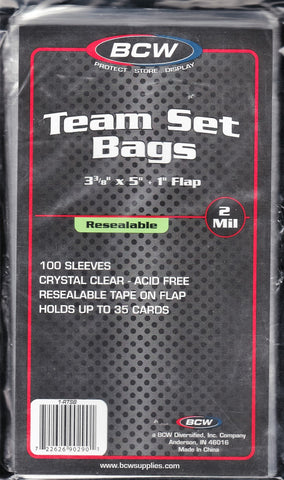 BCW Resealable Team Set Bags 100ct Pack - 3 3/8 X 5
