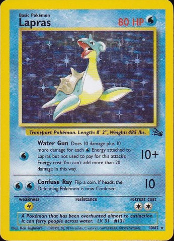 Lapras - 10/62 Rare HoloPokemon Card SingleGotta Collect 'Em All! Pokemon