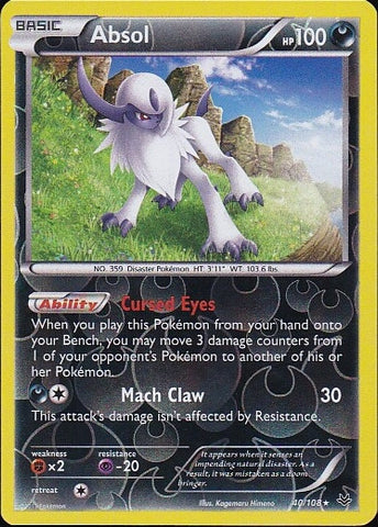 Absol - 40/108 Rare Reverse Holo, Pokemon Card Single, Gotta Collect Em All, product_collection], Pokemon