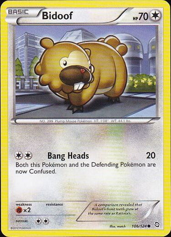 Bidoof - 106/124 Common, Pokemon Card Single, Gotta Collect Em All, product_collection], Pokemon