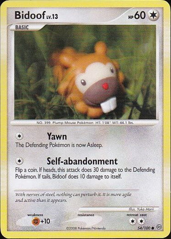 Bidoof - 54/100 Common, Pokemon Card Single, Gotta Collect Em All, product_collection], Pokemon