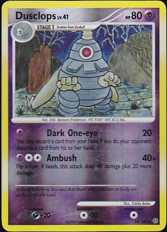 Dusclops - 34/100 Uncommon Reverse HoloPokemon Card SingleGotta Collect 'Em All! Pokemon