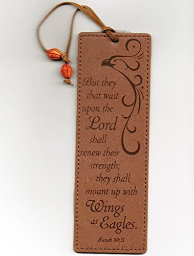 Leather-look Bookmark - Isaiah 40:31 They That Wait Upon the Lord Shall Renew Their Strength