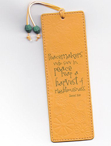 Leather-look Bookmark - Peacemakers Who Sow in Peace, Reap a Harvest of Righteousness - James 3:18
