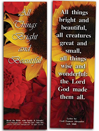 All Things Bright And Beautiful, 25 Christian Bible Bookmarks