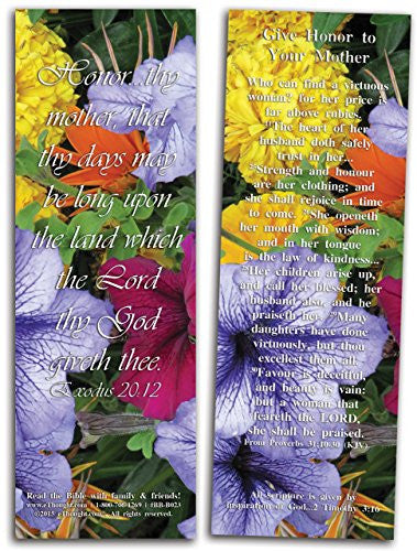 "Give Honor to Your Mother - Pack of 25 Cards - 2""x6"""