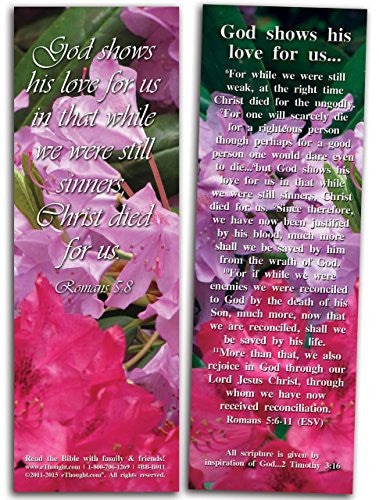 "God Shows His Love for Us - Pack of 25 Cards - 2""x6"""