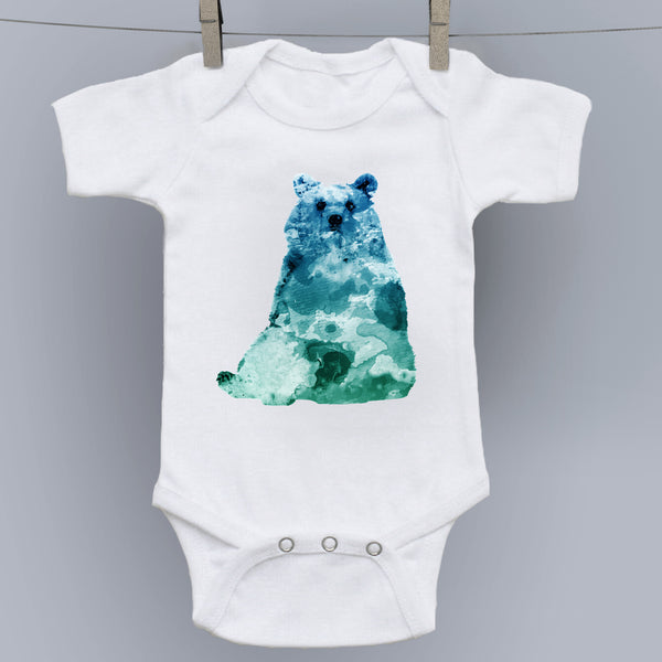 Blue Bear - Watercolor Forest Creatures Onesie