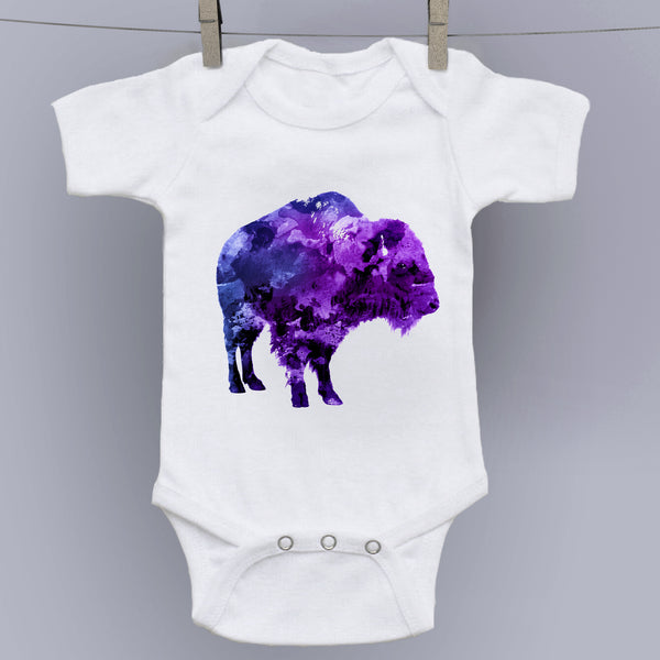 Purple Bison - Watercolor Forest Creatures Onesie