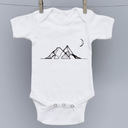 Moon Over Mountains Original Art Onesie