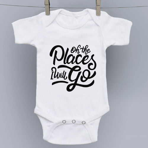 Oh the Places I'll Go Hand Drawn Slogan Onesie