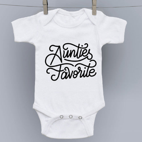Auntie's Favorite Hand Drawn Slogan Onesie