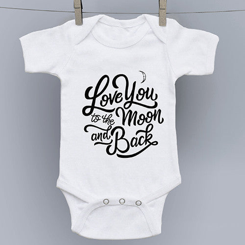 Love You to the Moon hand drawn slogan onesie