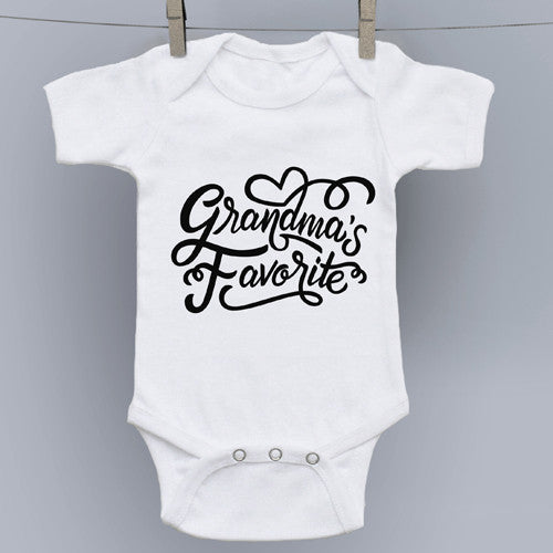 Grandma's Favorite Hand Drawn Slogan Onesie