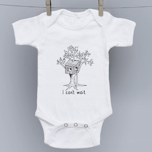 I Can't Wait (to be a big kid) Tree House Hand Drawn Slogan Onesie