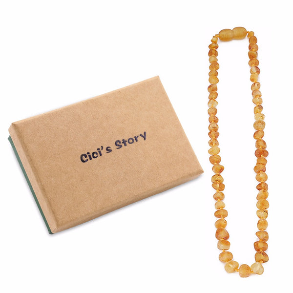 Raw Baltic Amber Teething Necklace (13 Inches) - Natural Anti Inflammatory Beads