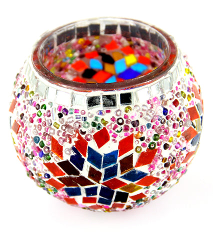 Tulip  Flower Design Mosaic Candle Holder